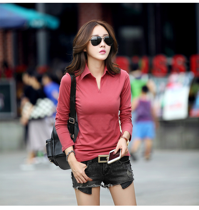 [해외]긴 Retail 폴로 폴로 여성 단색 검정 폴로 셔츠 여성 폴로 만화 larga chemise femme mache longue marque/long sleeve polos polo women solid plain black polos shirt  women p