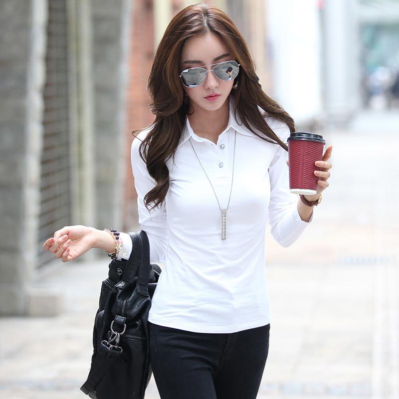 [해외]흰색 면화 폴로 셔츠 여성용 흰색 폴로 셔츠 일반 면도기 폴로 셔츠 일반 폴로 셔츠 femme manga larga/white polo shirts for women cotton polo button down shirts plain black polos shir