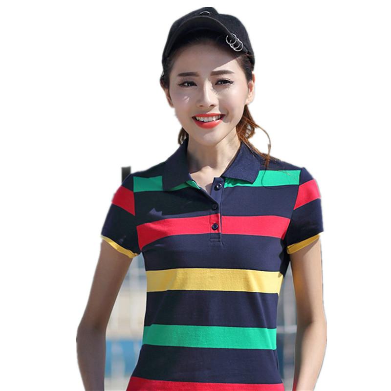 [해외]브랜드 의류 2017 플러스 크기 M-XXXL 여름 여성 폴로 셔츠 여성 짧은 Retail 옷 깃성 스트라이프 캐주얼 셔츠 레이디 폴로 YY602/Brand Clothing 2017 Plus Size M-XXXL Summer Women Polo Shirt Fem