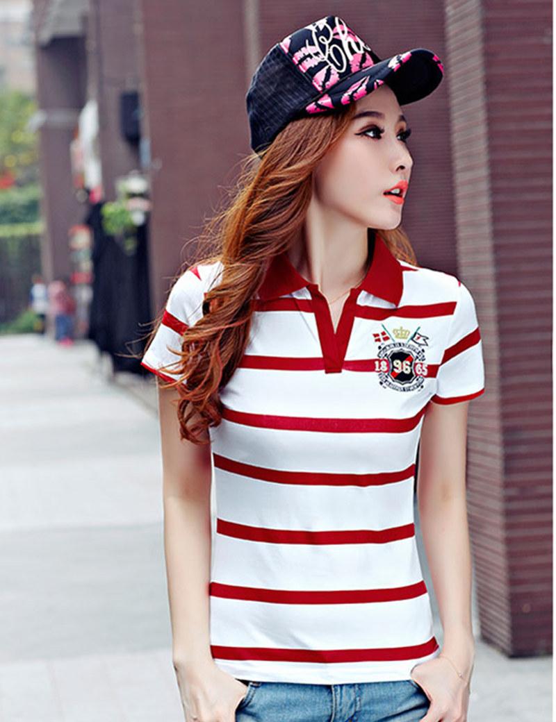 [해외]패션 슬림 레드 폴로 femme 자 수 짧은 Retail 여자 편지 폴로 셔츠 코 튼 Women s s 스트라이프 브랜드 Poloshirt 여성 B011/Fashion Slim Red polo femme Embroidery Short Sleeve Womens L