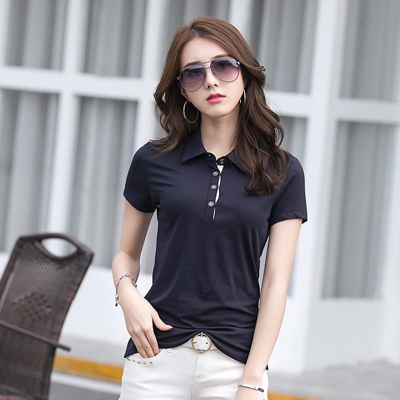 [해외]새 통근 코튼 반바지 슬리브 여자 폴로 셔츠 4 버튼 그것에/New Commuting Cotton Shorts Sleeve Woman Polo Shirts  4 Buttons On it