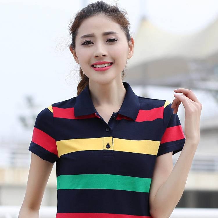 [해외]20pcs / lot 2017 새로운 패션 캐주얼 스트 라이프 여성 & s 폴로 셔츠 브랜드 여름 짧은 Retail 느슨한 상위 티 셔츠/20pcs/lot  2017 New Fashion Casual Stripe Women&s Polo shirts Bra