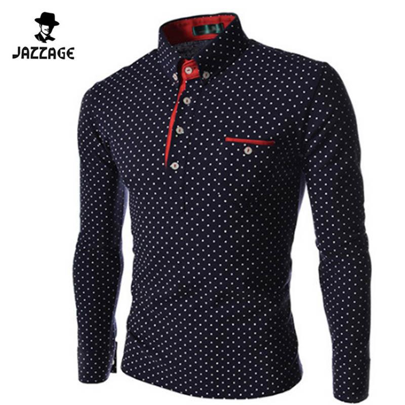 [해외]2016 새로운 브랜드 레티나 도트 긴 Retail 폴로 셔츠 브랜드 긴 Retail 캐미 스포티 스탠드 칼라 남성 폴로 셔츠 크기 3XL. KJHBA/2016 New Brands Mens Dot Long Sleeve POLO Shirts Brands  Long