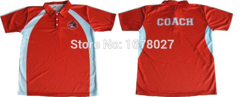 [해외]크리켓 팀을빨간색과 흰색 폴로 셔츠 맞춤형 패턴/Red and White Polo Shirts For Cricket TeamsCustom Patterns