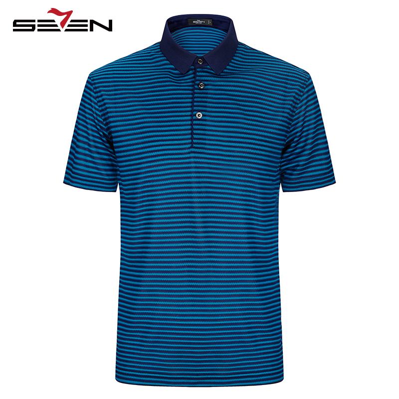 [해외]Seven7 브랜드 2017 뉴 캐주얼 패션 폴로 셔츠 여름 최신 남자 스트라이프 실크 폴로 셔츠 반팔 티셔츠 112T50220/Seven7 Brand 2017 NEW Casual Fashion Polo Shirt Summer latest Men Striped