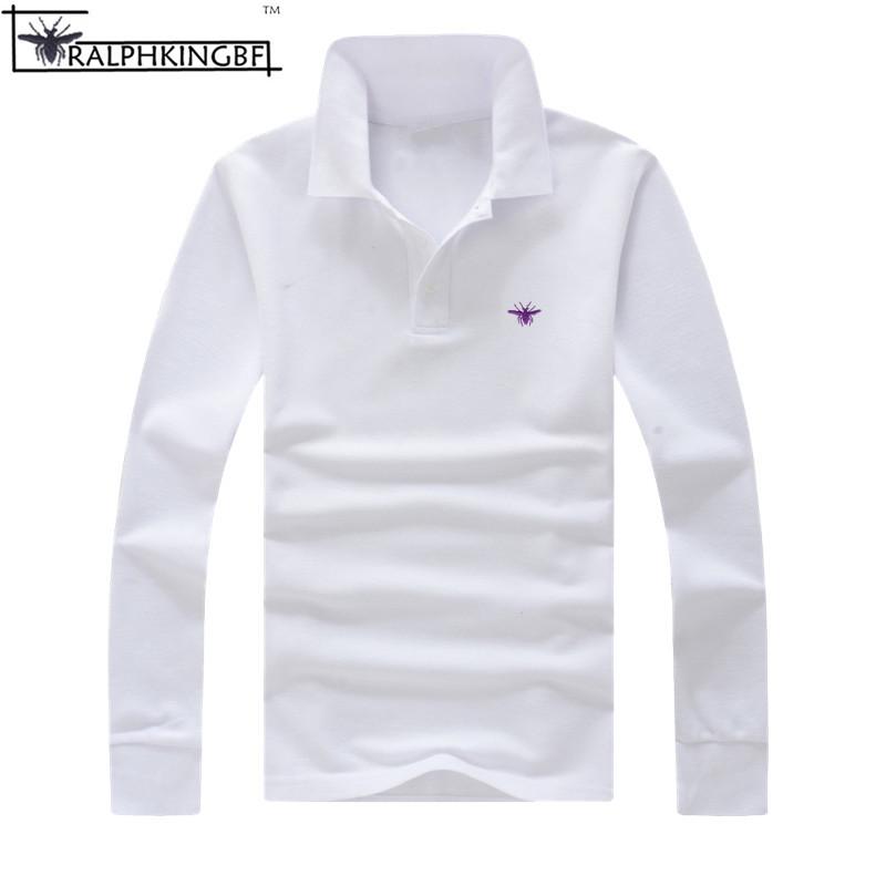 [해외]2017 여성과 남성의 새로운 캐주얼 가을 연인 폴로 셔츠 100 % 코튼 플러스 사이즈 긴 Retail 자수 camisa masculina shirts/2017 New casual autumn lovers of women and men polos shirts