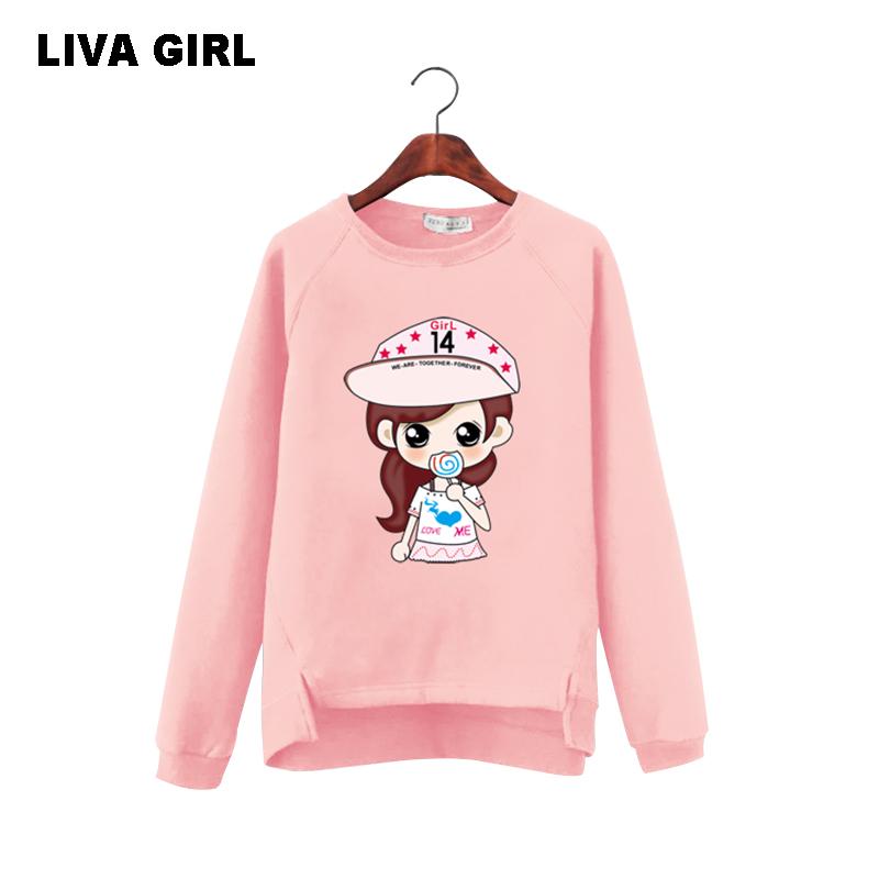 [해외]LIVA GIRL 봄 여성 셔츠 캐주얼 고양이 키스 생선 프린트 양털 안쪽 긴 Retail O 넥 편지 폴로 셔츠/LIVA GIRL Spring Women Shirt Casual Cat Kiss Fish Print Fleece Inside Long Sleeve