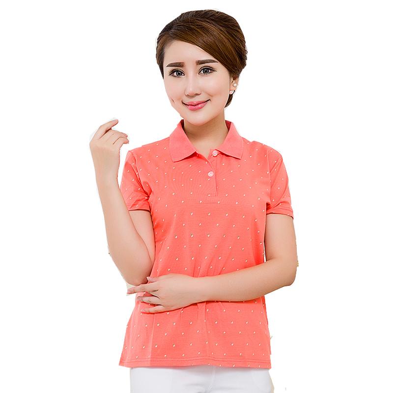[해외]여성용 여름 짧은 Retail 도트 인쇄 플러스 크기 3xl 4xl 5xl 6xl 폴로 셔츠 여성 코튼 슬림 폴로 셔츠 여성 의류 47/Women&s summer short sleeve dots print plus size 3xl 4xl 5xl 6xl Polo