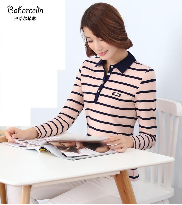 [해외]?Baharcelin 스트라이프 코 튼 폴로 셔츠 큰 플러스 크기 5XL 여성 턴 다운 칼라 긴 Retail 슬림 코 튼 Tees 여성 탑 Muje/ Baharcelin Striped Cotton Polo Shirt Big Plus Size 5XL women T