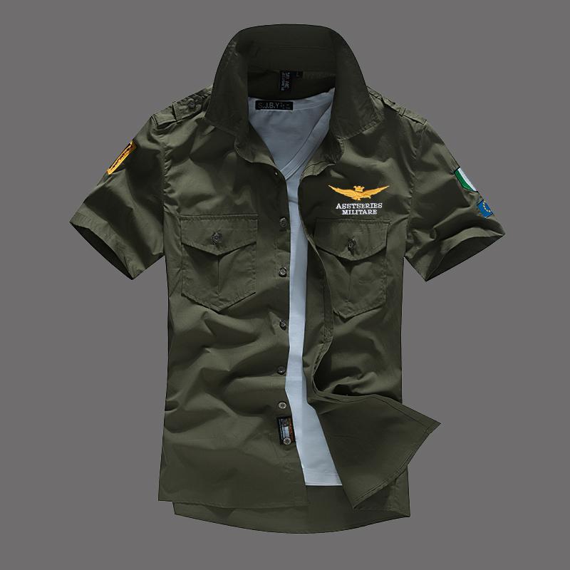 [해외]2017 에어 포스 한 남자 짧은 Retail 셔츠면 tarmac MA1 밀리터리 매니아 자수 셔츠 남성 & 폴로 셔츠/2017 air force one man short sleeve shirt cotton tarmac MA1 military enthus