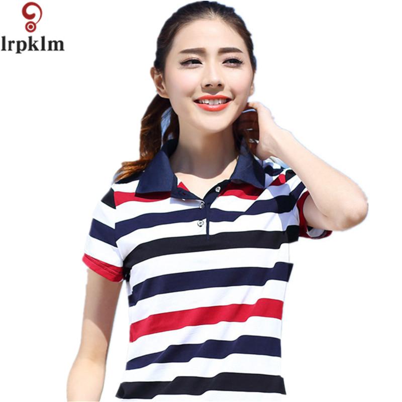 [해외]2017 섹시 한 여자 숙 녀 스트라이프 Poloshirt 코 튼 대형 여자 셔츠 폴로 여름 플러스 크기 M-5XL 6XL YY694/2017  Sexy Womens Ladies Striped Poloshirt Cotton Large Size Females Sh