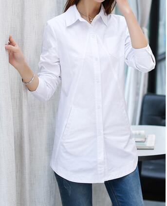 [해외]XL - 6XL 핫 2017 봄 여성 새로운 패션 긴 퓨어 코튼 셔츠 여성 긴 Retail 큰 야드/XL-6XL Hot 2017 Spring Women New Fashion long Pure cotton shirts women long sleeve big yar