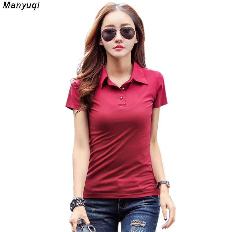 [해외]플러스 사이즈 3XL 캐주얼 여성 여성 폴로 셔츠 브랜드 슬림 한 고체 반팔 셔츠/Plus Size 3XL Casual Female women polo shirt brand slim solid short sleeves shirts