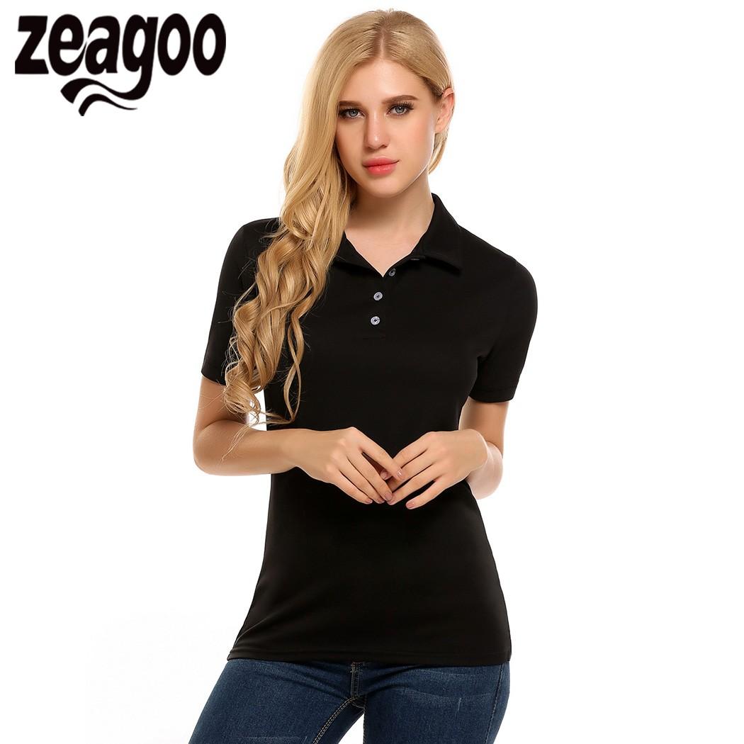 [해외]Zeagoo 2017 여름 여성 티셔츠 패션 캐주얼 셔츠 칼라 폴로 셔츠 반Retail상의 탑 플러스 사이즈 여성용 3XL 4 색/Zeagoo 2017 Summer Women Polo Shirt Fashion Casual Shirt Collar Polos Shi
