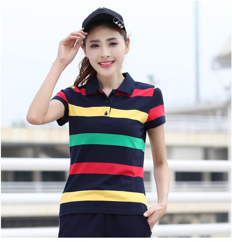 [해외]?Baharcelin 코 튼 스트라이프 폴로 셔츠 큰 크기 5XL 6XL 여성 거꾸로 칼라 짧은 Retail 슬림 코 튼 Tees 여성 탑 Muje/ Baharcelin Cotton Striped Polo Shirt Big Size 5XL 6XL women Tu