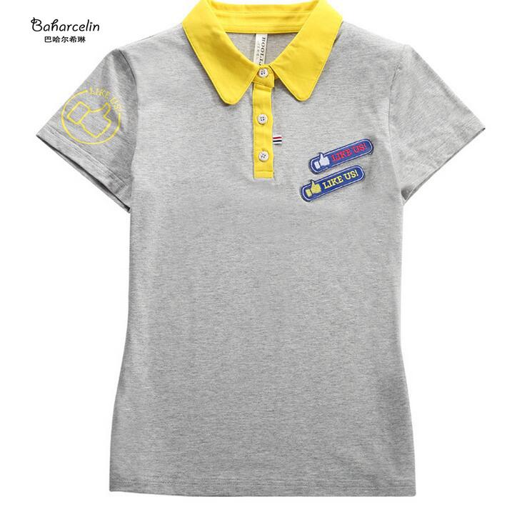 [해외]?바하 셀린 여성 그릴 여름 자수 폴로스 다운 칼라 폴로 탑스 코튼 탑 의류/ Baharcelin women Gril Summer Embroidery Polos Turn-down Collar Polo Tops Cotton Top Clothing