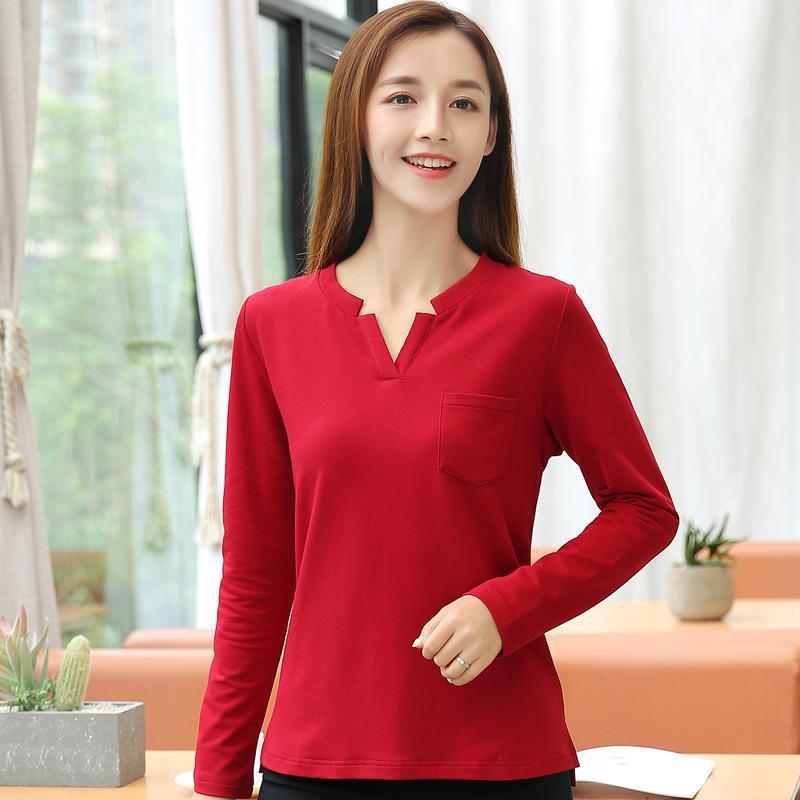 [해외]YAUAMDB 여성용 폴로 셔츠 2017 봄 가을 M - 4XL 면화 여성용 포켓 긴팔 티셔츠 V 칼라 폴로 단색 탑스 y79/YAUAMDB women polo shirt 2017 spring autumn size M-4XL cotton female pocket