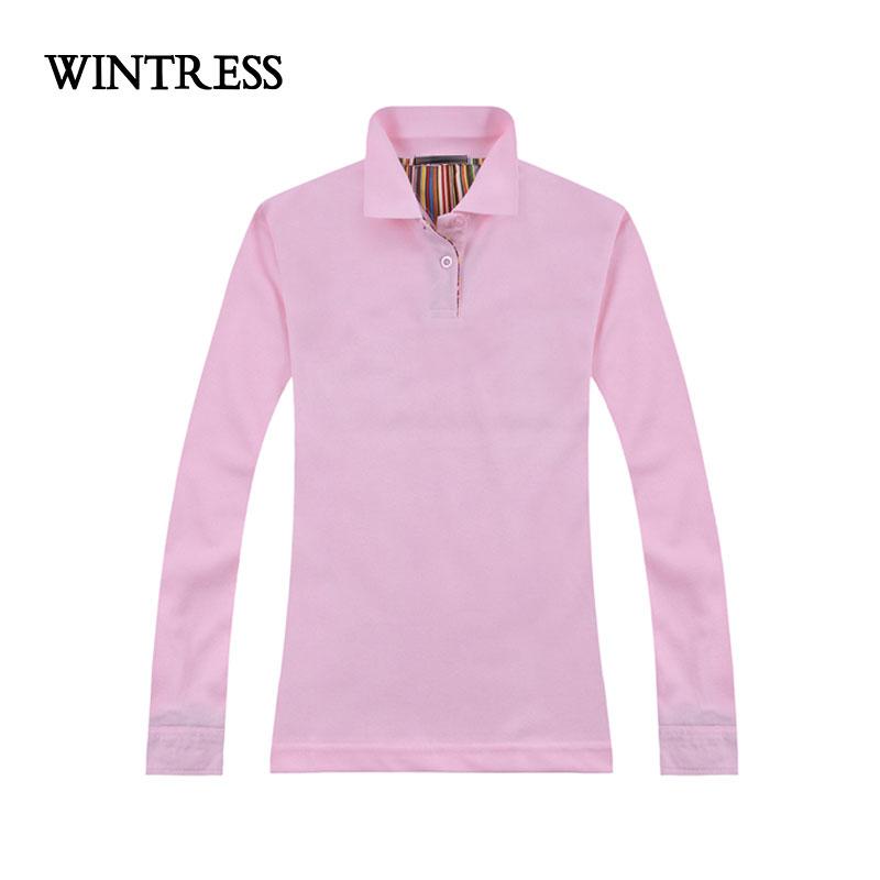 [해외]WINTRESS 수 사용자 정의 로고 여성 폴로 긴 Retail 턴 다운 칼라 버튼 단색 슬림 탑 가을 겨울 티 의류/WINTRESS Can Custom Logo Women Polo Long Sleeve Turn-Down Collar Button Solid Sl