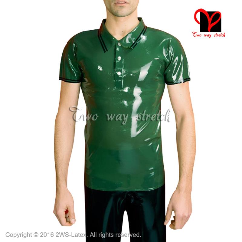[해외]GreenBlack Trims 버튼 다운 칼라 버튼 라텍스 폴로 셔츠 고무 유니폼 톱 러버 언더웨어 의류 의류 SY-058/GreenBlack Trims button turn down collar Latex Polo shirt Rubber uniformTop R