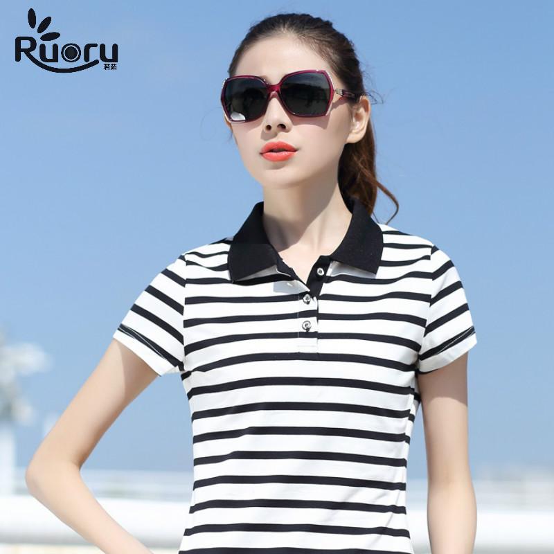 [해외]루오 루 M - 6XL 플러스 사이즈 여성 코튼 폴로 Slim Lapel Striped Women 폴로 폴로 여성 캐주얼 비즈니스 티셔츠 폴로 여성 Femme/Ruoru M-6XL Plus Size Women Cotton Polo Slim Lapel Stripe