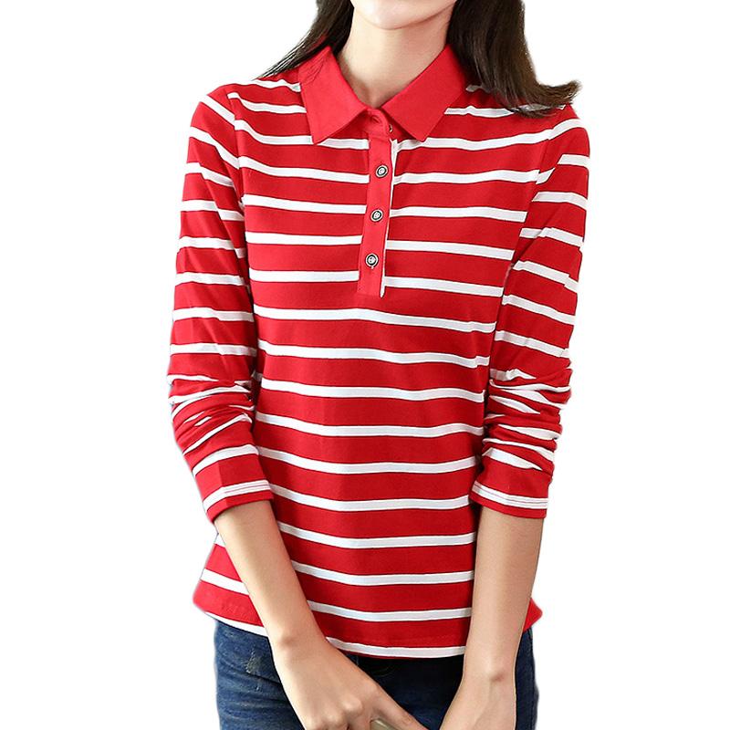 [해외]2017 봄 가을 캐주얼 스트라이프 폴로 셔츠 여성용 긴 Retail 슬림 폴로 무저 여자 탑 레이디 폴로 셔츠 여성용 플러스 사이즈/2017 Spring Autumn Casual Striped Polo Shirt For Women Long Sleeve Slim