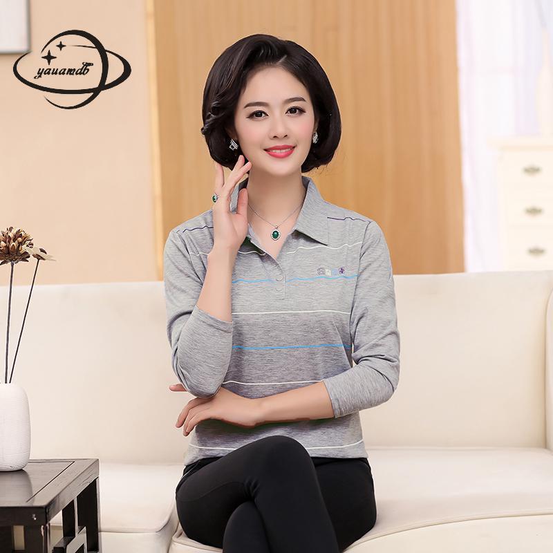 [해외]YAUAMDB 여성 폴로 셔츠 2017 봄 가을 XL-4XL 면화 여성 줄무늬 긴팔 티셔츠 여성 다운 다운 칼라 폴로 y40/YAUAMDB women polo shirt 2017 spring autumn size XL-4XL cotton female stripe