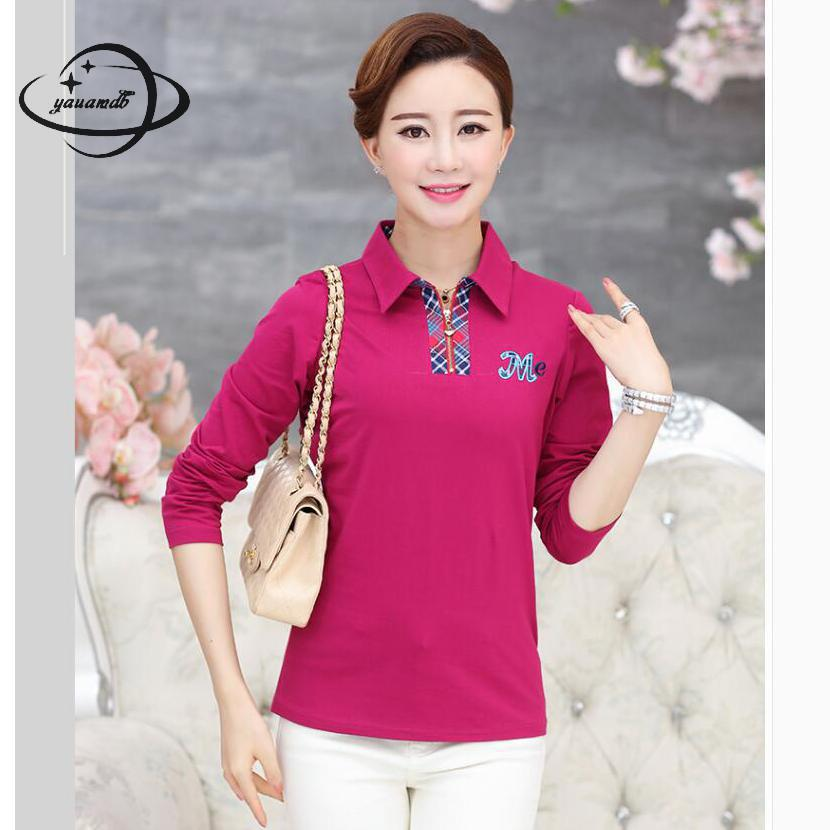 [해외]YAUAMDB 여성 폴로 셔츠 2018 봄 가을 사이즈 L - 4XL 숙녀 긴 Retail 인쇄 티 여성 지퍼 다운 다운 칼라 폴로 상판 y59/YAUAMDB women polo shirt 2018 spring autumn size L-4XL ladies lon