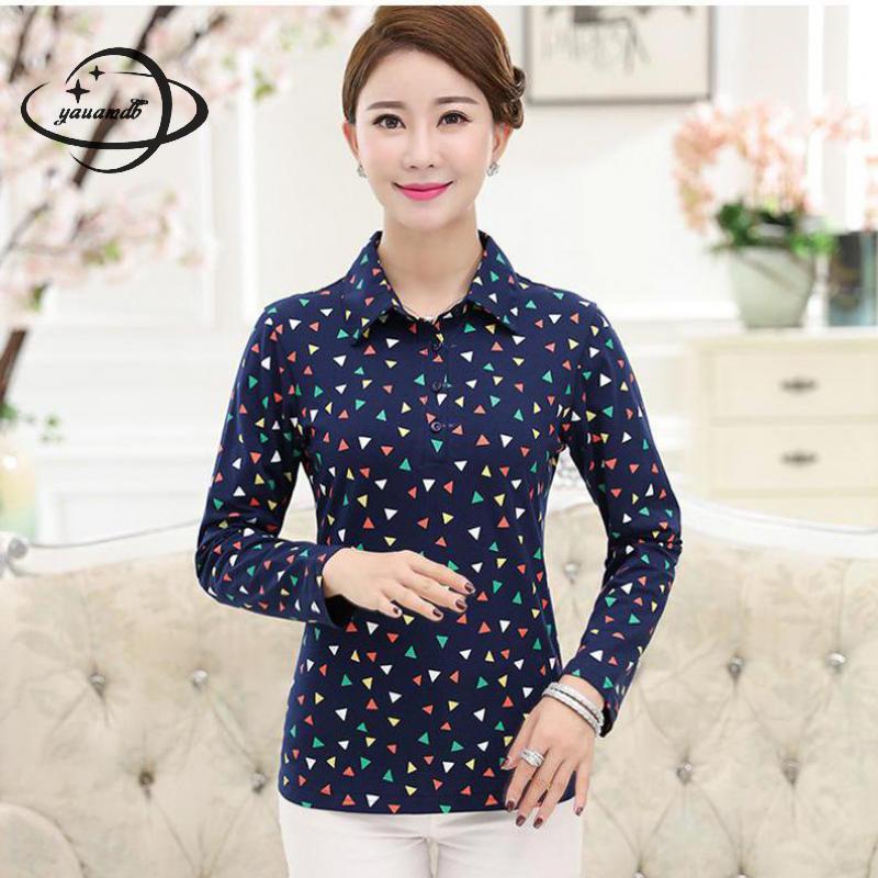 [해외]YAUAMDB 여성 폴로 셔츠 2018 봄 가을 사이즈 L - 4XL 숙녀 면화 긴 Retail 인쇄 티 여성 다운 다운 칼라 폴로 상판 y58/YAUAMDB women polo shirt 2018 spring autumn size L-4XL ladies cot