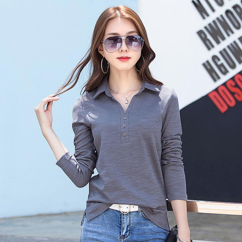 [해외]2018 새로운 패션 여성 긴 Retail 셔츠 느슨한 폴로 셔츠 V 목 여성 & Anti-Pilling 솔리드 컬러 플러스 크기 열 셔츠/2018 New Fashion Women Long sleeves shirt Loose Polo shirt V nec