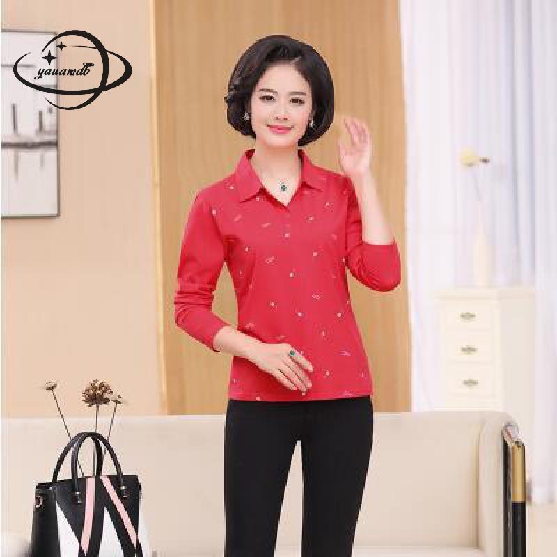 [해외]YAUAMDB 여성 폴로 셔츠 2018 봄 가을 크기 XL - 4XL 숙녀 긴 Retail 인쇄 티 여성 다운 다운 칼라 폴로 상판 y39/YAUAMDB women polo shirt 2018 spring autumn size XL-4XL ladies long
