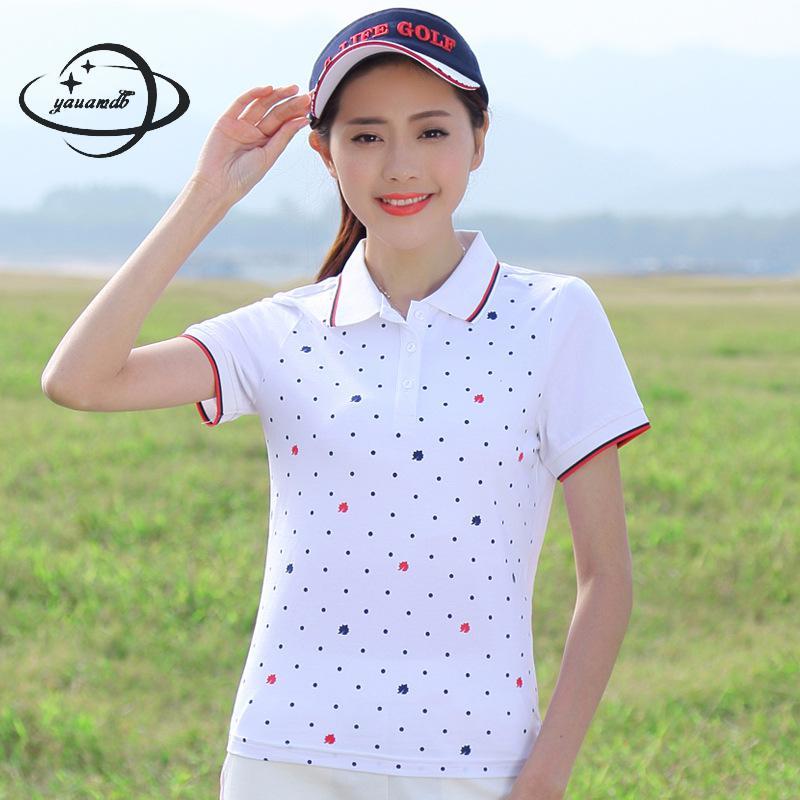 [해외]YAUAMDB 여성용 폴로 셔츠 2018 여름 사이즈 M - 4XL 여성용 반팔 티셔츠 여성 폴로 스트 라이프 다운 칼라 다운 탑 y46/YAUAMDB women polo shirt 2018 summer size M-4XL cotton female short s
