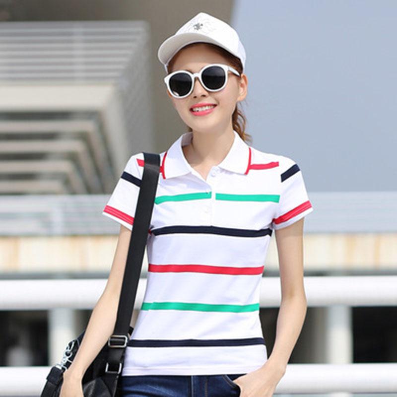 [해외]코 튼 폴로 셔츠 여성 여름 플러스 크기 탑 레이디 스트라이프 폴로 Raph 셔츠 여성 Femme 의류 캐주얼 통기성/Cotton  Polo Shirt Women Summer Plus Size Top Lady Striped Polo Raph Shirt Femal