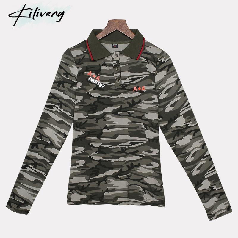 [해외]Kiliveng 밀리터리 유니폼 코튼 폴로 셔츠 탑 여성 긴 Retail 육군 레저 인쇄 폴로 셔츠 캐주얼 여성 위장 1806/Kiliveng Military Uniform Cotton polo shirt Tops women Long Sleeve Army Lei
