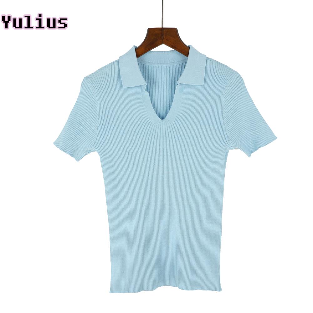[해외]여름 니트 폴로 셔츠 여성 2018 새로운 짧은 Retail 탄성 솔리드 슬림 폴로 셔츠 탑 패션 여성 폴로 셔츠 Femme/Summer Knitted Polo Shirt Women 2018 New Short Sleeve Elasticity Solid Slim