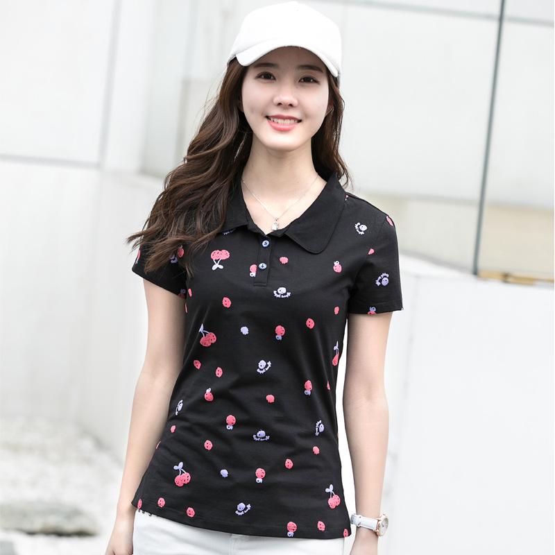 [해외]새로운 2018 브랜드 폴로 셔츠 여성 코튼 패션 과일 도트 인쇄 Camisa Polo 여름 짧은 Retail 캐주얼 셔츠 CSB09/New 2018 Brand POLO Shirt Women Cotton Fashion Fruit Dots Print Camisa