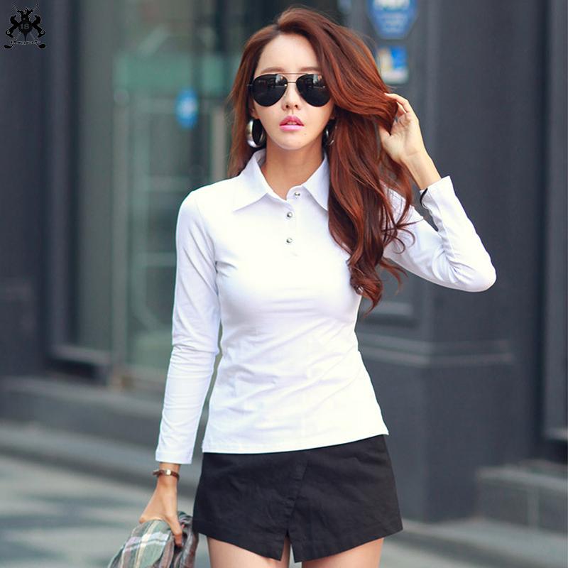 [해외] 2018 여성용 긴 Retail 폴로 셔츠 무명 단색 캐주얼 여성 슬림 여성 티셔츠 슬리퍼 폴로 셔츠/Free shipping 2018 womens long sleeve polos shirts cotton solid color casual womens lape