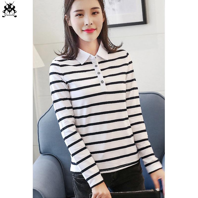 [해외]고품질 2018 가을 여성 긴 Retail 스트 라이프 폴로 셔츠 코 튼 캐주얼 옷 깃 여자 폴로 패션 슬림 여자 톱/High quality 2018 Autumn Womens long sleeve striped polo shirts cotton casual la