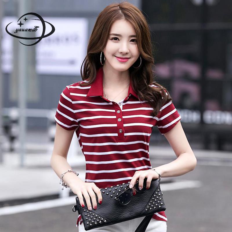 [해외]YAUAMDB 여성용 폴로 셔츠 2018 여름 M - 4XL 여성 티셔츠 의류 반Retail 스트 라이프 캐주얼 여성 의류 47/YAUAMDB women polo shirts 2018 summer M-4XL cotton female tops tees clothi