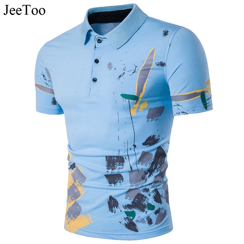 [해외]JeeToo 브랜드 2018 뉴 패션 남성 폴로 셔츠 인쇄 캐주얼 반Retail 남성 셔츠면 슬림 맞는 남성 티셔츠 폴로 옴므/JeeToo Brand 2018 New Fashion Male Polo Shirt Printing Casual Short Sleeve