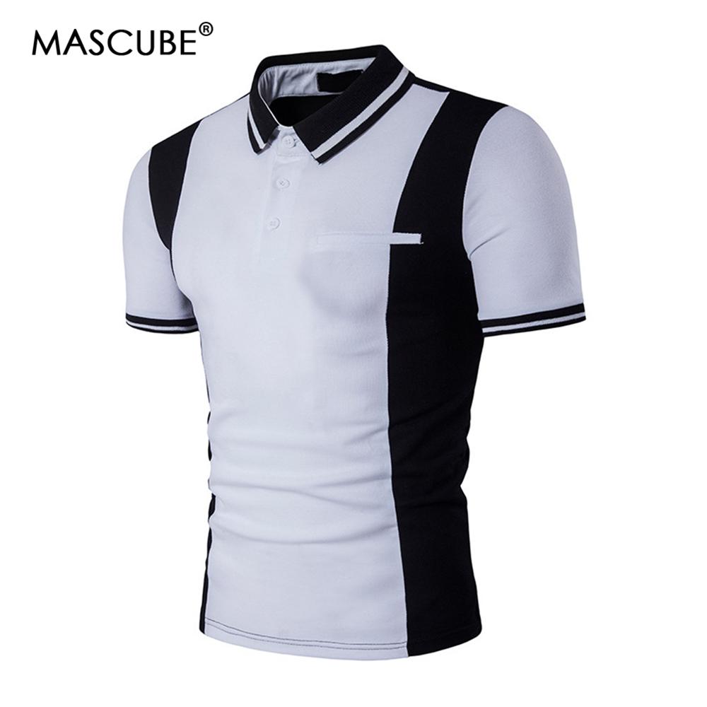 [해외]MASCUBE 스트라이프 폴로 셔츠 남성 브랜드 새 여름 폴로 셔츠 옴므 슬림 피트 반Retail 남성 폴로 셔츠 캐주얼 블랙 화이트 Camisa/MASCUBE Striped Polo Shirt Men Brand New Summer Polo Shirt Homme