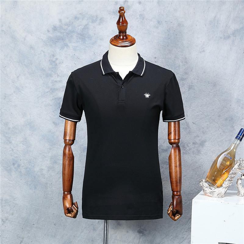 [해외]2018 남자 꿀벌 자수 폴로 셔츠 패션 패턴 블랙 짧은 Retail 여름 스트레이트 코튼 폴로 남성/2018 New Arrival Men Bee Embroidery Polo Shirt Fashion Pattern Black Short Sleeve Summer