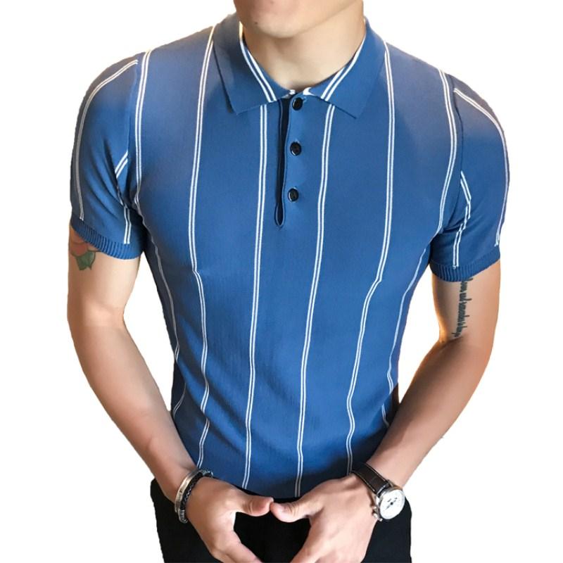 [해외]남자 & 여름 슬림 비즈니스 바람 옷깃 세로 스트라이프 얼음 실크 폴로 반Retail 패션 솔리드 컬러 니트 폴로 셔츠/Men&s Summer Slim Business Wind Lapel Vertical Striped Ice Silk Polo Short