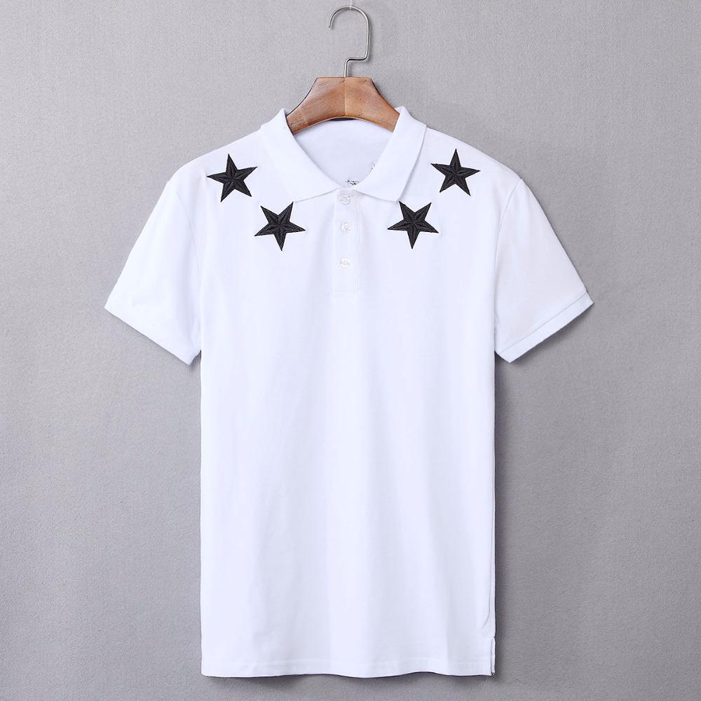 [해외]2018 브랜드 Mens Stras 자수 폴로 셔츠 패션 패턴 검정 짧은 Retail 스트레이트 코튼 100 % 폴로스 남성 ??여름 의류 XXL/2018 Brand Mens Stras Embroidery Polo Shirt Fashion Pattern Blac