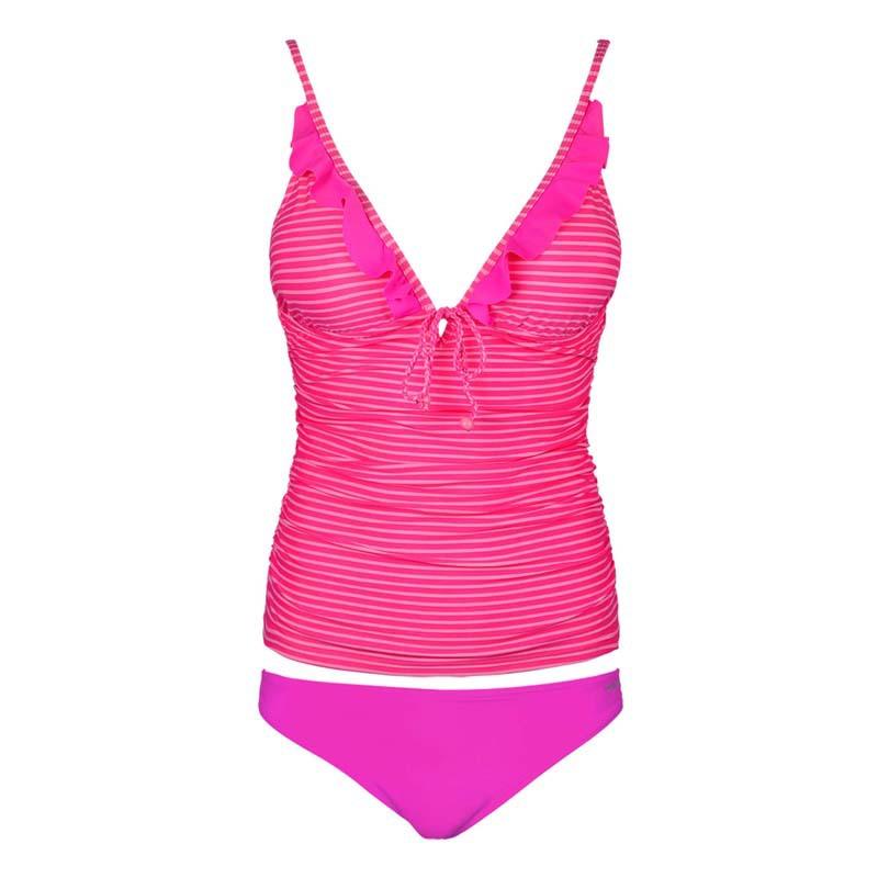 [해외]레이디 / 여자 섹시한 비키니 수영복 핫 핑크 스트라이프 패션 섹시한 비키니 두 조각 셔링 쉐이핑 Tankini 수영복/Lady/girl sexy Bikini Hot Swimsuits Pink stripe Fashion Sexy Bikini Two Pieces