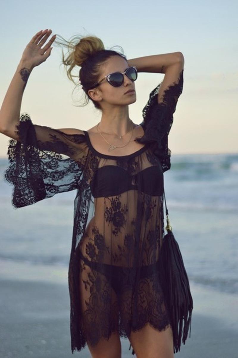 [해외]Swimwearst 섹시한 크로 셰 뜨개질 화이트 블랙 레이스 파 레오 비치 드레스 여름 비키니 수영복 커버 업에 대한 커버 업 2016 패션/Cover Ups 2016 Fashion for Swimwearst Sexy Crochet White Black Lac