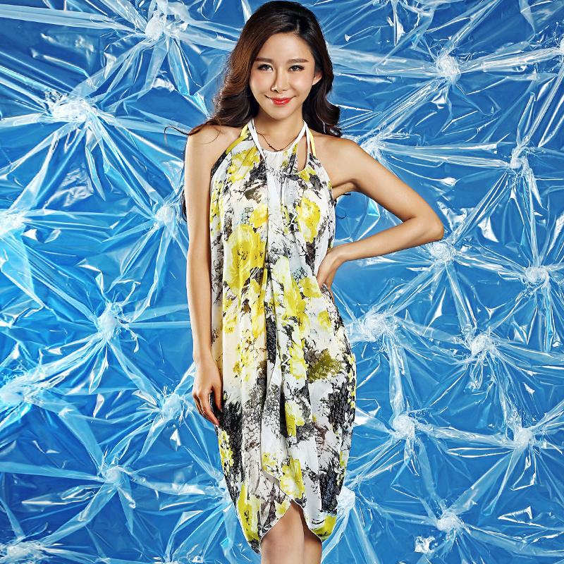 [해외]2015 바다 측 여름 드레스 여성 긴 4 색 비키니에 대한 해변 드레스 스카프 수영복 고삐 인쇄를 은폐 해변 커버 - 업을 포장/2015 Sea side summer dress women wrap beach cover-ups long cover up print