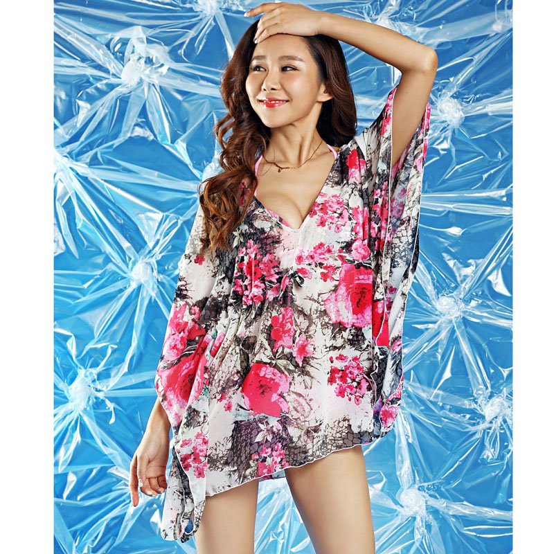 [해외]2015 여름 캐주얼 드레스 여성 랩 해변 수영복 비키니에 대한 느슨한 은폐 긴 은폐 꽃 무늬 홀터넥 비치 드레스를 착용/2015 Summer casual dress woman wrap beach wear loose cover-up long cover up fl