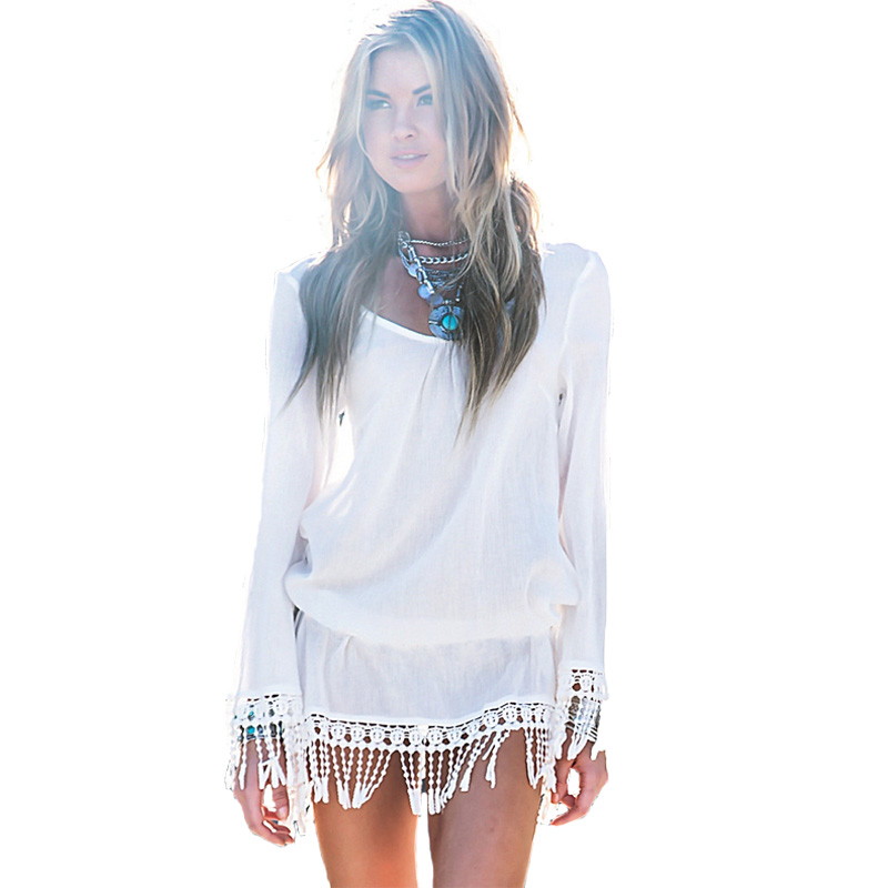 [해외]2015 여름 여성 비치 DressTassel 긴 Retail 짧은 미니 드레스 섹시한 여성 비키니 커버 업 화이트 비치 여성을 착용/2015 Summer Women Beach DressTassel Long Sleeve Short Mini Dress Sexy L