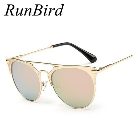 [해외]RunBird BARBE 핑크 브랜드 고양이 눈 평면 상단 합금 여름 빈티지 여성 명품 선글라스 남성 코팅 미러 Oculos 레돈도 R019/RunBird Barbe Pink Brand Cat Eye Flat Top Alloy Summer Vintage Wome