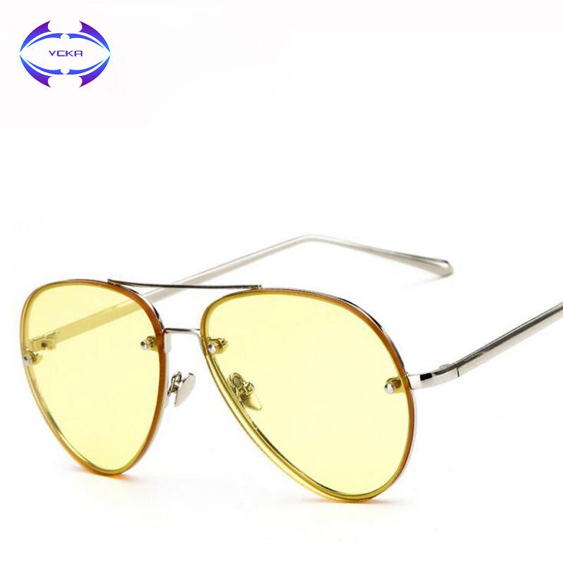 [해외]VCKA 2017 선글라스 여성 브랜드 조종사 선글라스 분명 렌즈 여성 패션 에비 에이터 타원형 태양 안경 투명한 UV400/VCKA 2017 Sunglasses women Brand Design pilot sunglasses Clear lens Female F